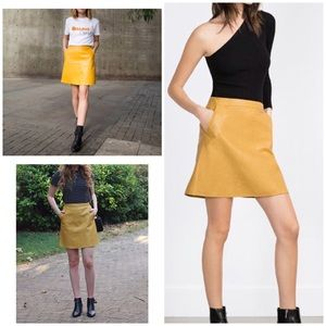 EUC Zara Faux Leather Yellow Mini A-line Skirt M